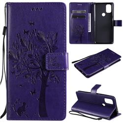 Embossing Butterfly Tree Leather Wallet Case for OnePlus Nord N10 5G - Purple