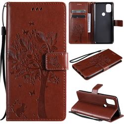 Embossing Butterfly Tree Leather Wallet Case for OnePlus Nord N10 5G - Coffee