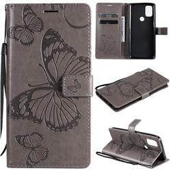 Embossing 3D Butterfly Leather Wallet Case for OnePlus Nord N10 5G - Gray