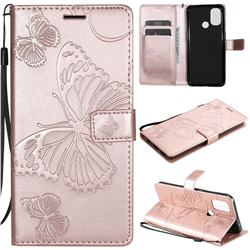 Embossing 3D Butterfly Leather Wallet Case for OnePlus Nord N10 5G - Rose Gold