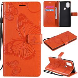 Embossing 3D Butterfly Leather Wallet Case for OnePlus Nord N10 5G - Orange