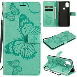 Embossing 3D Butterfly Leather Wallet Case for OnePlus Nord N10 5G - Green