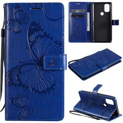 Embossing 3D Butterfly Leather Wallet Case for OnePlus Nord N10 5G - Blue