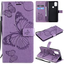 Embossing 3D Butterfly Leather Wallet Case for OnePlus Nord N10 5G - Purple