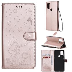 Embossing Bee and Cat Leather Wallet Case for OnePlus Nord N10 5G - Rose Gold