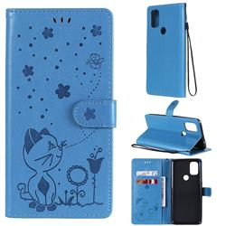 Embossing Bee and Cat Leather Wallet Case for OnePlus Nord N10 5G - Blue