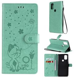 Embossing Bee and Cat Leather Wallet Case for OnePlus Nord N10 5G - Green
