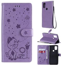 Embossing Bee and Cat Leather Wallet Case for OnePlus Nord N10 5G - Purple