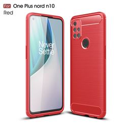 Luxury Carbon Fiber Brushed Wire Drawing Silicone TPU Back Cover for OnePlus Nord N10 5G - Red