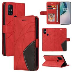 Luxury Two-color Stitching Leather Wallet Case Cover for OnePlus Nord N10 5G - Red