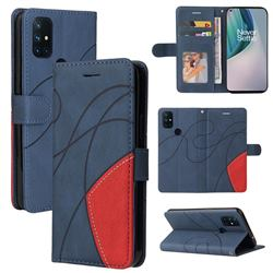 Luxury Two-color Stitching Leather Wallet Case Cover for OnePlus Nord N10 5G - Blue