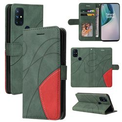 Luxury Two-color Stitching Leather Wallet Case Cover for OnePlus Nord N10 5G - Green