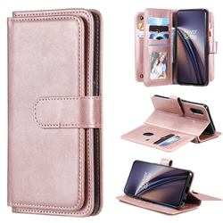Multi-function Ten Card Slots and Photo Frame PU Leather Wallet Phone Case Cover for OnePlus Nord CE 5G (Nord Core Edition 5G) - Rose Gold