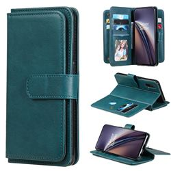 Multi-function Ten Card Slots and Photo Frame PU Leather Wallet Phone Case Cover for OnePlus Nord CE 5G (Nord Core Edition 5G) - Dark Green