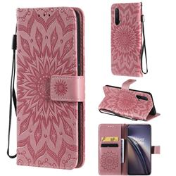 Embossing Sunflower Leather Wallet Case for OnePlus Nord CE 5G (Nord Core Edition 5G) - Pink
