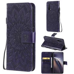 Embossing Sunflower Leather Wallet Case for OnePlus Nord CE 5G (Nord Core Edition 5G) - Purple
