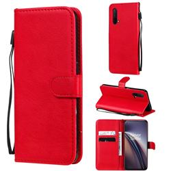 Retro Greek Classic Smooth PU Leather Wallet Phone Case for OnePlus Nord CE 5G (Nord Core Edition 5G) - Red