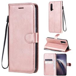 Retro Greek Classic Smooth PU Leather Wallet Phone Case for OnePlus Nord CE 5G (Nord Core Edition 5G) - Rose Gold