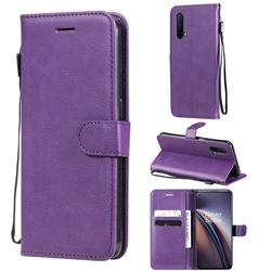 Retro Greek Classic Smooth PU Leather Wallet Phone Case for OnePlus Nord CE 5G (Nord Core Edition 5G) - Purple