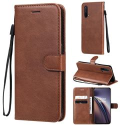 Retro Greek Classic Smooth PU Leather Wallet Phone Case for OnePlus Nord CE 5G (Nord Core Edition 5G) - Brown