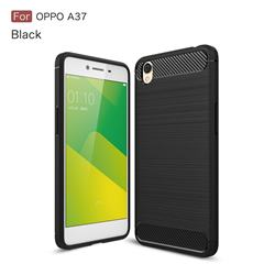 Luxury Carbon Fiber Brushed Wire Drawing Silicone TPU Back Cover for Oppo A37 - Black
