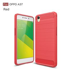 Luxury Carbon Fiber Brushed Wire Drawing Silicone TPU Back Cover for Oppo A37 - Red