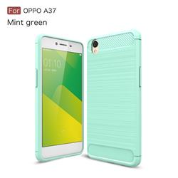 Luxury Carbon Fiber Brushed Wire Drawing Silicone TPU Back Cover for Oppo A37 - Mint Green