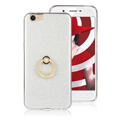 Luxury Soft TPU Glitter Back Ring Cover with 360 Rotate Finger Holder Buckle for Oppo A39 - White