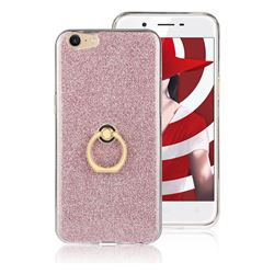 Luxury Soft TPU Glitter Back Ring Cover with 360 Rotate Finger Holder Buckle for Oppo A39 - Pink