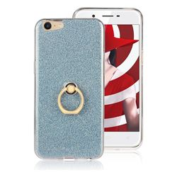 Luxury Soft TPU Glitter Back Ring Cover with 360 Rotate Finger Holder Buckle for Oppo A39 - Blue