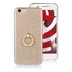 Luxury Soft TPU Glitter Back Ring Cover with 360 Rotate Finger Holder Buckle for Oppo A39 - Golden