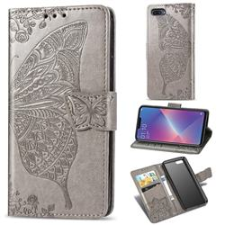 Embossing Mandala Flower Butterfly Leather Wallet Case for Oppo A3s (Oppo A5) - Gray
