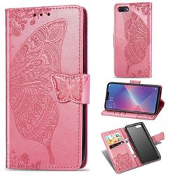 Embossing Mandala Flower Butterfly Leather Wallet Case for Oppo A3s (Oppo A5) - Pink
