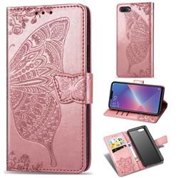 Embossing Mandala Flower Butterfly Leather Wallet Case for Oppo A3s (Oppo A5) - Rose Gold