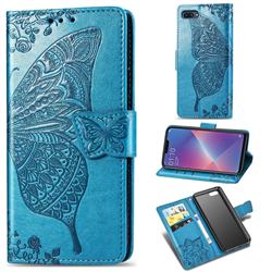 Embossing Mandala Flower Butterfly Leather Wallet Case for Oppo A3s (Oppo A5) - Blue