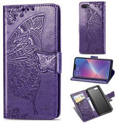 Embossing Mandala Flower Butterfly Leather Wallet Case for Oppo A3s (Oppo A5) - Dark Purple