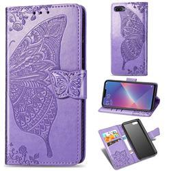 Embossing Mandala Flower Butterfly Leather Wallet Case for Oppo A3s (Oppo A5) - Light Purple