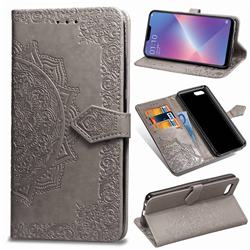 Embossing Imprint Mandala Flower Leather Wallet Case for Oppo A3s (Oppo A5) - Gray