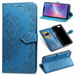 Embossing Imprint Mandala Flower Leather Wallet Case for Oppo A3s (Oppo A5) - Blue