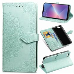 Embossing Imprint Mandala Flower Leather Wallet Case for Oppo A3s (Oppo A5) - Green
