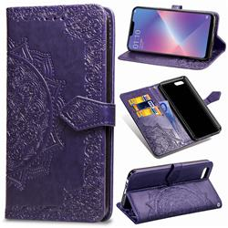 Embossing Imprint Mandala Flower Leather Wallet Case for Oppo A3s (Oppo A5) - Purple