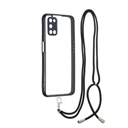 Necklace Cross-body Lanyard Strap Cord Phone Case Cover for Oppo A52 - Black