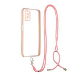 Necklace Cross-body Lanyard Strap Cord Phone Case Cover for Oppo A52 - Pink