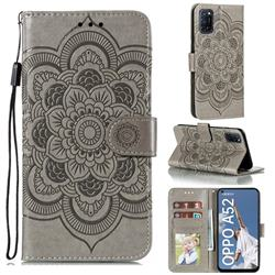 Intricate Embossing Datura Solar Leather Wallet Case for Oppo A52 - Gray
