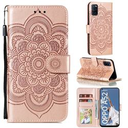 Intricate Embossing Datura Solar Leather Wallet Case for Oppo A52 - Rose Gold