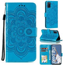 Intricate Embossing Datura Solar Leather Wallet Case for Oppo A52 - Blue