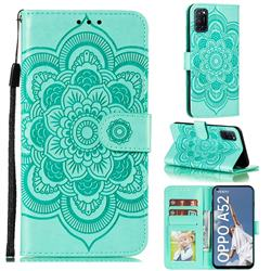 Intricate Embossing Datura Solar Leather Wallet Case for Oppo A52 - Green