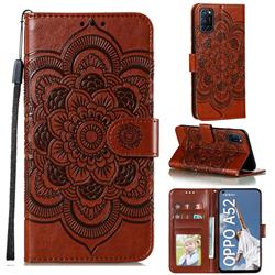 Intricate Embossing Datura Solar Leather Wallet Case for Oppo A52 - Brown