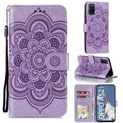 Intricate Embossing Datura Solar Leather Wallet Case for Oppo A52 - Purple