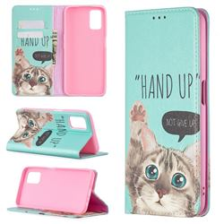 Hand Up Cat Slim Magnetic Attraction Wallet Flip Cover for Oppo A52